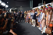 Models including Avery Blanchard, Julia Jamin, Lineisy Montero, Angel Rutledge, Maartje Verhoef, Bella Hadid, Alecia Morais, Hailey Baldwin, Julie Hoomans, Harleth Kuusik, Leomie Anderson, Lexi Boling and Vanessa Moody pose backstage with designer Tommy Hilfiger at Tommy Hilfiger Women's Spring 2016 during New York Fashion Week: The Shows  at Pier 36 on September 14, 2015 in New York City.