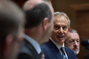 Former British Prime Minister Tony Blair (C) addresses the media and EPP Group members after attending the European People's Party Group Bureau meeting at Druids Glen on May 12, 2017 in Wicklow, Ireland. Brexit and negotiating objectives will top the agenda at the meeting alongside the unique circumstances regarding the hard border issue between northern and southern Ireland, the only physical border between the United Kingdom and Europe. Mr Blair has signaled a return to politics in light of the Brexit vote. The meeting also features European Commission Brexit chief negotiator Michel Barnier.
