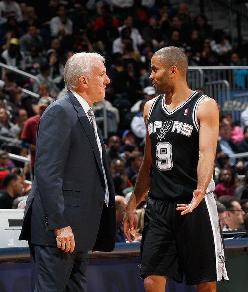 Tony Parker and Gregg Popovich - San Antonio Spurs v Atlanta Hawks