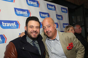 Adam Richman and Andrew Zimmern attend Top Dog: A NY Hot Dog Competition Hosted By Andrew Zimmern, part of LOCAL presented by Delta Air Lines, during Food Network & Cooking Channel New York City Wine & Food Festival presented By FOOD & WINE at The Standard Highline on October 17, 2015 in New York City.