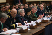 (L-R) Secretary of the Army John McHugh, Army Chief of Staff Gen. Raymond Odierno, Secretary of the Navy Ray Mabus, Vice Chief of Naval Operations Adm. Michelle Howard, Commandant of the Marine Corps Gen. Joseph Dunford, Secretary of the Air Force Deborah Lee James and Air Force Chief of Staff Gen. Mark Welsh III testify before the House Armed Services Committee about the FY2016 National Defense Authorization Budget Request in the Rayburn House Office Building on Capitol Hill March 17, 2015 in Washington, DC. All of the service chiefs and the military secretaries warned the committee that the budget cutting measure called 'sequestration' will continue to adversley affect military rediness and put American lives at risk at home and abroad.
