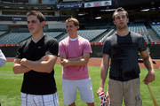 Tyler Seguin, Cam Fowler and Brett Connolly attend the Top NHL Draft Prospects At Batting Practice at Angel Stadium of Anaheim on June 23, 2010 in Anaheim, California.