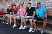 Taylor Hall, Brett Connolly, Cam Fowler, Tyler Seguin and Emerson Etem attend the Top NHL Draft Prospects At Batting Practice at Angel Stadium of Anaheim on June 23, 2010 in Anaheim, California.