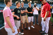 Cam Fowler, Taylor Hall, Brett Connolly, Tyler Seguin and Los Angeles Angels of Anahiem manager Mike Scioscia attend the Top NHL Draft Prospects At Batting Practice at Angel Stadium of Anaheim on June 23, 2010 in Anaheim, California.