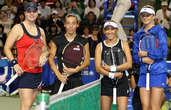 Alisa Kleybanova (L-R) Alisa Kleybanova of Russia, Francesca Schiavone of Italy, Ai Sugiyama of Japan and Daniela Hantuchova of Slovakia pose together before playing their doubles final match during day seven of the Toray Pan Pacific Open Tennis tournament at Ariake Colosseum on October 3, 2009 in Tokyo, Japan.