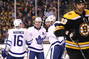 James van Riemsdyk #25 of the Toronto Maple Leafs celebrates after scoring a goal with teammates Nazem Kadri #43, Tyler Bozak #42 and Mitchell Marner #16 as Zdeno Chara #33 of the Boston Bruins skates away during the second period of Game Five of the Eastern Conference First Round in the 2018 Stanley Cup play-offs at TD Garden on April 21, 2018 in Boston, Massachusetts.