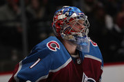 Goaltender Semyon Varlamov #1 of the Colorado Avalanche stands ready against the Toronto Maple Leafs at the Pepsi Center on December 29, 2017 in Denver, Colorado. The Avalanche defeated the Maple Leafs 4-3 in overtime.