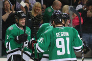 Jamie Benn #14 of the Dallas Stars celebrates his goal with Tyler Seguin against the Toronto Maple Leafs in the first period at American Airlines Center on January 23, 2014 in Dallas, Texas.