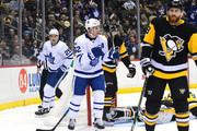 Tyler Bozak #42 of the Toronto Maple Leafs celebrates after scoring a goal against the Pittsburgh Penguins at PPG PAINTS Arena on December 9, 2017 in Pittsburgh, Pennsylvania.