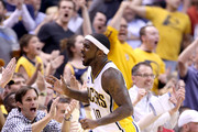 Ty Lawson #10 of the Indiana Pacers celebrates against the Toronto Raptors during game four of the 2016 NBA Eastern Conference Quarterfinal Playoffs at Bankers Life Fieldhouse on April 23, 2016 in Indianapolis, Indiana.   NOTE TO USER: User expressly acknowledges and agrees that, by downloading and or using this photograph, User is consenting to the terms and conditions of the Getty Images License Agreement.