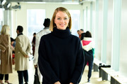 Lindsey Ellingson attends the Tory Burch Fall Winter 2019 Fashion Show at Pier 17 on February 10, 2019 in New York City.