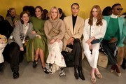 (L-R) Molly Blutstein, Gala Gonzalez, Charlotte Groeneveld, Tylynn Nguyen, Larsen Thompson and Flaviana Matata attend the Tory Burch Fall Winter 2020 Fashion Show at Sotheby's on February 09, 2020 in New York City.