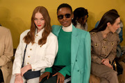 Larsen Thompson (L) and Flaviana Matata attend the Tory Burch Fall Winter 2020 Fashion Show at Sotheby's on February 09, 2020 in New York City.