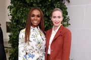 Janet Mock (L) and Emily Blunt attends Tory Burch NYFW SS20 at the Brooklyn Museum on September 08, 2019 in Brooklyn City.