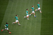 Harry Kane, Heung-Min Son, Harry Winks, Christian Eriksen and Danny Rose of Tottenham Hotspur warm up prior to the UEFA Champions League Final between Tottenham Hotspur and Liverpool at Estadio Wanda Metropolitano on June 01, 2019 in Madrid, Spain.