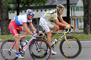 George Hincapie (R) of USA and team Colombia - High Road rides with stage winner Serguei Ivanov of Russia and team Katusha in the break away during stage 14 of the 2009 Tour de France from Colmar to Besancon on July 18, 2009 in Besancon, France. Hincapie cycled to the third place in the overall standings in stage 14 trailing 5 seconds behind the yellow jersey.