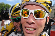 Mark Cavendish (R) of Great Britain and Team Columbia-HTC embraces team mate Mark Renshaw of Australia after winning Stage Twenty One of the Tour de France on July 26, 2009 in Paris, France.