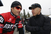 George Hincapie (L) of the USA and riding for BMC talks with Andrew Messick (R) President of AEG Sports prior to the start as stage one of the 2011 AMGEN Tour of California from South Lake Tahoe to North Lake Tahoe is cancelled due to unsafe conditions caused by snow on May 15, 2011 in South Lake Tahoe, California.