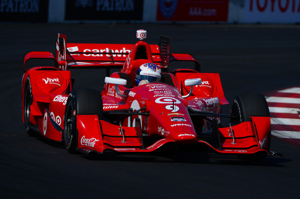 Scott Dixon of New Zealand driver of the #9 Target Chip Ganassi Racing Chevrolet Dallara , drives during warm ups for the for the Verizon IndyCar Series Toyota Grand Prix of Long Beach on April 19, 2015 on the streets of Long Beach, California.