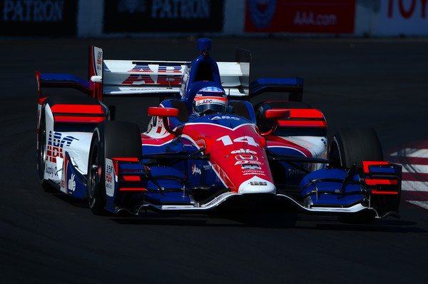 Takuma Sato of Japan driver of the #14 AJ Foyt Racing Honda Dallara , drives during warm ups for the for the Verizon IndyCar Series Toyota Grand Prix of Long Beach on April 19, 2015 on the streets of Long Beach, California.