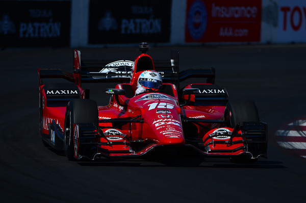Graham Rahal driver of the #15 Rahal Letterman Lanigan Racing Honda Dallara , drives during warm ups for the for the Verizon IndyCar Series Toyota Grand Prix of Long Beach on April 19, 2015 on the streets of Long Beach, California.