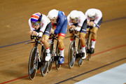 The Great Britain team competes in the first round of the Mens Team Pursuit during the track cycling on Day Two of the European Championships Glasgow 2018 at Sir Chris Hoy Velodrome on August 3, 2018 in Glasgow, Scotland.