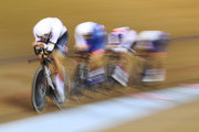 Ethan Hayter, Oliver Wood, Steven Burke and Kian Emadi ofTeam GB compete during the Qualifying of the Men's Team Pursuit on Day One of the European Championships Glasgow 2018 at Sir Chris Hoy Velodrome on August 2, 2018 in Glasgow, Scotland.
