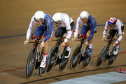 Ethen Hayter, Oliver Wood, Steven Burke and Klan Emadi of Great Britain compete in the mens team persuit qualification during the track cycling on Day one of the European Championships Glasgow 2018 at Sir Chris Hoy Velodrome on August 2, 2018 in Glasgow, Scotland.