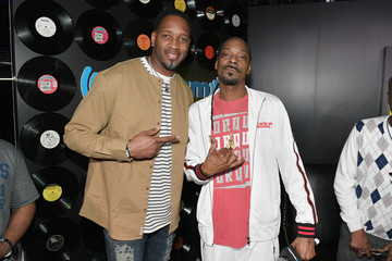 Tracy McGrady LL COOL J Celebrates the Launch of His Exclusive SiriusXM Channel 'Rock The Bells Radio' At World On Wheels In Los Angeles