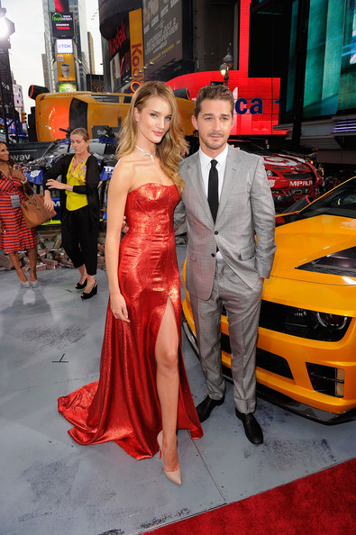 "Rosie Huntington-Whiteley (L) and Shia LaBeouf attend the ""Transformers: Dark Side Of The Moon"" premiere in Times Square on June 28, 2011 in New York City."