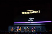 "(L-R) Moderator Jude Dry with Shakina Nayfack, Alexandra Billings, Jay Duplass Judith Light, Jill Soloway and Faith Soloway attend the panel discussion during the ""Transparent"" screening at the 2019 Tribeca TV Festival at Regal Battery Park Cinemas on September 15, 2019 in New York City."