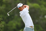 Danny Lee of New Zealand plays his shot from the fifth tee during the final round of the Travelers Championship at TPC River Highlands on June 24, 2018 in Cromwell, Connecticut.