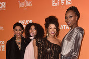 (L-R) Mj Rodriguez, Indya Moore, Hailie Sahar, and Dominique Jackson attend The Trevor Project's TrevorLIVE Gala at The Beverly Hilton Hotel on December 02, 2018 in Beverly Hills, California.