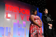 Hosts Nicole Byer and Eugene Lee Yang speak onstage during TrevorLIVE NY 2019 at Cipriani Wall Street on June 17, 2019 in New York City.