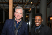 "Actors Aidan Quinn (L) and Jon Michael Hill attend the after party for the TriStar and Cinema Society screening of ""T2 Trainspotting"" at Mr. Purple at the Hotel Indigo LES on March 14, 2017 in New York City."