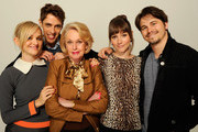 (L-R) Actress Jess Weixler, director Jay Gammill, actress Tippi Hedren, actress Jocelin Donahue and actor Jason Ritter of the film 'Free Samples' visit the Tribeca Film Festival 2012 portrait studio at the Cadillac Tribeca Press Lounge on April 21, 2012 in New York City.