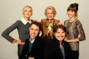 Actress Jess Weixler, actress Tippi Hedren, actress Jocelin Donahue, director Jay Gammill and actor Jason Ritter of the film 'Free Samples' visit the Tribeca Film Festival 2012 portrait studio at the Cadillac Tribeca Press Lounge on April 21, 2012 in New York City.