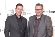 """Actor, writer and director Ed Burns (L) and columnist Mike Vaccaro  attend the premiere of """"Summertime"""" with Tribeca Talks: Storytellers during the 2018 Tribeca Film Festival at BMCC Tribeca PAC on April 27, 2018 in New York City."""
