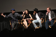 JR, Lauren Lovette,  Charles Riley and Hans Zimmer attend Tribeca Talks After The Movie:Les Bosquets during the 2015 Tribeca Film Festival at SVA Theater on April 26, 2015 in New York City.