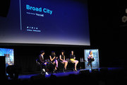 (L-R) Paul W. Downs, Lucia Aniello, ,lana Glazer, Abbi Jacobson and Kelly Ripa attend Tribeca Tune In: Broad City - 2016 Tribeca Film Festival at Spring Studios on April 17, 2016 in New York City.