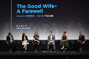 (L-R) Show creators Robert King and Michelle King, actress Julianna Margulies, actor Matt Czuchry,  actress Cush Jumbo and moderator Henry Goldblatt speak on stage during Tribeca Tune In: The Good Wife at BMCC John Zuccotti Theater on April 17, 2016 in New York City.