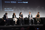 (L-R) Show creators Robert King and Michelle King, actress Julianna Margulies, actor Matt Czuchry,  actress Cush Jumbo speak on stage during Tribeca Tune In: The Good Wife at BMCC John Zuccotti Theater on April 17, 2016 in New York City.
