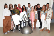 Maya Jama poses with contestants during the launch of 'True Love or True Lies?' at MTV London on August 7, 2018 in London, England.