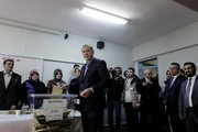 Turkish President Tayyip Erdogan poses as he casts his ballot at a polling station on November 1, 2015,  in Istanbul, Turkey. Polls have opened in Turkey's second general election this year, with the ruling Justice and Development Party (AKP) hoping to win a majority, as the country searches for stability amongst serious security concerns.