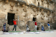 Sergio Garcia of Spain, Henrik Stenson of Sweden and Lee Westwood of England take on the challenge to hit golf balls over the towering walls of the 2,000 year-old Amphitheater of Aspendos to launch the 2014 Turkish Airlines Open on November 11, 2014 in Antalya, Turkey. The Turkish Airlines Open presented by the Ministry of Youth and Sports, takes place in the historic city of Antalya at the Montgomerie Maxx Royal Golf Course, 13-16 November. The tournament features a high-class field of international golfers competing for a $7 million prize fund.