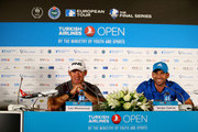 Lee Westwood of England and Sergio Garcia of Spain talk to the media during a press conference ahead of the Turkish Airlines Open at The Montgomerie Maxx Royal on November 12, 2014 in Antalya, Turkey.