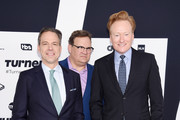 (L-R) Jake Tapper, Andy Richter, and Conan O'Brien attend the Turner Upfront 2017 arrivals on the red carpet at The Theater at Madison Square Garden on May 17, 2017 in New York City. 26617_003