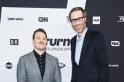 Daniel Stessen and Stephen Merchant attend the Turner Upfront 2018 arrivals on the red carpet at The Theater at Madison Square Garden on May 16, 2018 in New York City. 376263