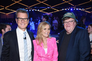 (L-R) Kevin Reilly, President, TBS & TNT and Chief Creative Officer, Turner Entertainment, Samantha Bee, and Michael Moore pose during the Turner Upfront 2018 show at The Theater at Madison Square Garden on May 16, 2018 in New York City. 376263