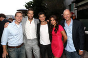 (L-R) Producer Kevin Biegel, Actors Geoff Stults, Parker Young, Angelique Cabral, and Producer Mike Royce attend the Twentieth Century Fox Television Distribution's 2013 LA Screenings Lot Party at Twentieth Century Fox Studio Lot on May 23, 2013 in Los Angeles, California.